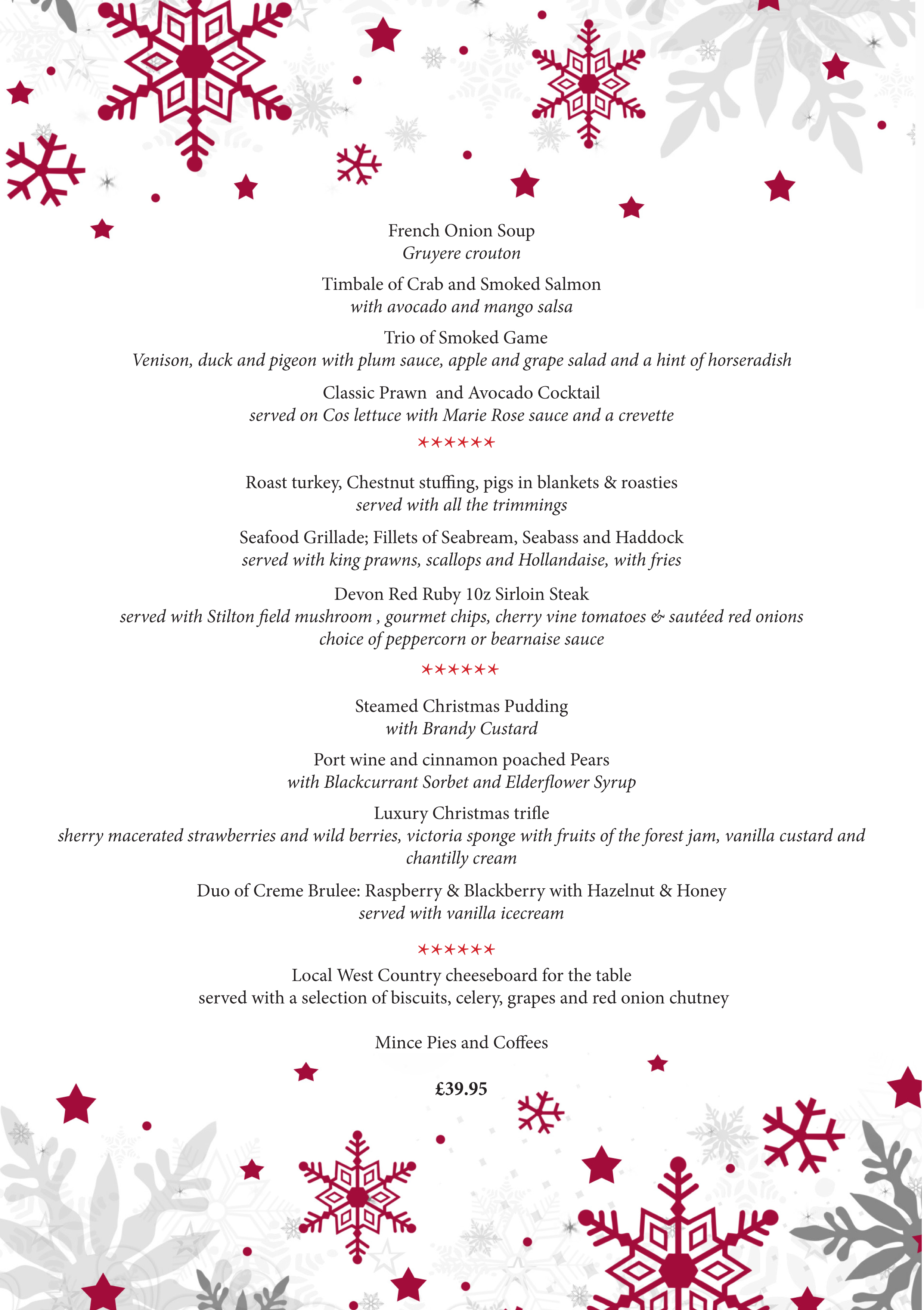 Christmas Menu.Xmas Menu The Dove Inn