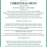 The Dove Inn's Christmas Menu.